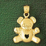 Teddy Bear Charm Bracelet or Pendant Necklace in Yellow, White or Rose Gold DZ-2460 by Dazzlers