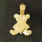 Teddy Bear Charm Bracelet or Pendant Necklace in Yellow, White or Rose Gold DZ-2461 by Dazzlers