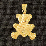 Teddy Bear Charm Bracelet or Pendant Necklace in Yellow, White or Rose Gold DZ-2462 by Dazzlers