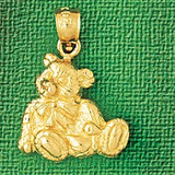 Teddy Bear Charm Bracelet or Pendant Necklace in Yellow, White or Rose Gold DZ-2464 by Dazzlers