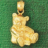 Teddy Bear Charm Bracelet or Pendant Necklace in Yellow, White or Rose Gold DZ-2465 by Dazzlers