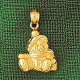 Teddy Bear Charm Bracelet or Pendant Necklace in Yellow, White or Rose Gold DZ-2466 by Dazzlers