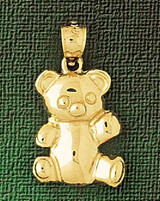 Teddy Bear Charm Bracelet or Pendant Necklace in Yellow, White or Rose Gold DZ-2468 by Dazzlers