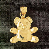 Teddy Bear Charm Bracelet or Pendant Necklace in Yellow, White or Rose Gold DZ-2469 by Dazzlers