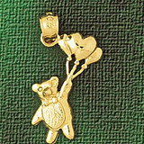 Teddy Bear Charm Bracelet or Pendant Necklace in Yellow, White or Rose Gold DZ-2472 by Dazzlers