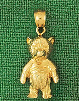 Teddy Bear Charm Bracelet or Pendant Necklace in Yellow, White or Rose Gold DZ-2474 by Dazzlers