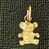 Teddy Bear Charm Bracelet or Pendant Necklace in Yellow, White or Rose Gold DZ-2476 by Dazzlers