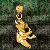 Teddy Bear Charm Bracelet or Pendant Necklace in Yellow, White or Rose Gold DZ-2480 by Dazzlers