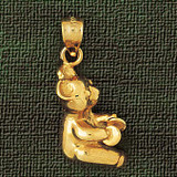 Teddy Bear Charm Bracelet or Pendant Necklace in Yellow, White or Rose Gold DZ-2481 by Dazzlers