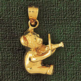 Teddy Bear Charm Bracelet or Pendant Necklace in Yellow, White or Rose Gold DZ-2482 by Dazzlers