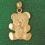 Teddy Bear Charm Bracelet or Pendant Necklace in Yellow, White or Rose Gold DZ-2484 by Dazzlers