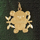 Teddy Bear Charm Bracelet or Pendant Necklace in Yellow, White or Rose Gold DZ-2486 by Dazzlers