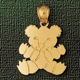Teddy Bear Charm Bracelet or Pendant Necklace in Yellow, White or Rose Gold DZ-2489 by Dazzlers