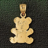 Teddy Bear Charm Bracelet or Pendant Necklace in Yellow, White or Rose Gold DZ-2490 by Dazzlers