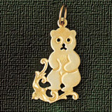 Teddy Bear Charm Bracelet or Pendant Necklace in Yellow, White or Rose Gold DZ-2491 by Dazzlers