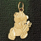 Teddy Bear Charm Bracelet or Pendant Necklace in Yellow, White or Rose Gold DZ-2492 by Dazzlers