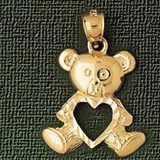 Teddy Bear With Heart Charm Bracelet or Pendant Necklace in Yellow, White or Rose Gold DZ-2495 by Dazzlers