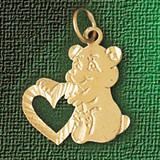 Teddy Bear With Heart Charm Bracelet or Pendant Necklace in Yellow, White or Rose Gold DZ-2497 by Dazzlers