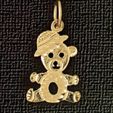 Teddy Bear Charm Bracelet or Pendant Necklace in Yellow, White or Rose Gold DZ-2499 by Dazzlers