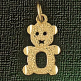 Teddy Bear Charm Bracelet or Pendant Necklace in Yellow, White or Rose Gold DZ-2500 by Dazzlers