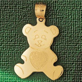 Teddy Bear Charm Bracelet or Pendant Necklace in Yellow, White or Rose Gold DZ-2502 by Dazzlers