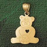 Teddy Bear With Heart Charm Bracelet or Pendant Necklace in Yellow, White or Rose Gold DZ-2503 by Dazzlers