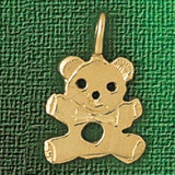 Teddy Bear Charm Bracelet or Pendant Necklace in Yellow, White or Rose Gold DZ-2505 by Dazzlers