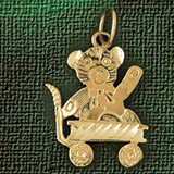 Teddy Bear Charm Bracelet or Pendant Necklace in Yellow, White or Rose Gold DZ-2507 by Dazzlers