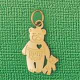 Teddy Bear With Heart Charm Bracelet or Pendant Necklace in Yellow, White or Rose Gold DZ-2508 by Dazzlers