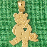 Teddy Bear With Heart Charm Bracelet or Pendant Necklace in Yellow, White or Rose Gold DZ-2509 by Dazzlers