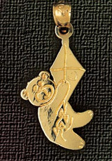 Teddy Bear Charm Bracelet or Pendant Necklace in Yellow, White or Rose Gold DZ-2514 by Dazzlers