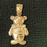 Teddy Bear Charm Bracelet or Pendant Necklace in Yellow, White or Rose Gold DZ-2515 by Dazzlers