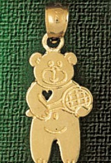Teddy Bear With Heart Charm Bracelet or Pendant Necklace in Yellow, White or Rose Gold DZ-2520 by Dazzlers