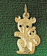 Koala Charm Bracelet or Pendant Necklace in Yellow, White or Rose Gold DZ-2525 by Dazzlers