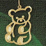 Teddy Bear Charm Bracelet or Pendant Necklace in Yellow, White or Rose Gold DZ-2528 by Dazzlers