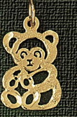 Teddy Bear Charm Bracelet or Pendant Necklace in Yellow, White or Rose Gold DZ-2529 by Dazzlers