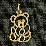Teddy Bear Charm Bracelet or Pendant Necklace in Yellow, White or Rose Gold DZ-2530 by Dazzlers