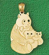 Bear Charm Bracelet or Pendant Necklace in Yellow, White or Rose Gold DZ-2533 by Dazzlers