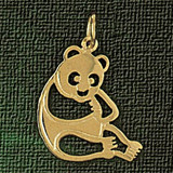 Bear Charm Bracelet or Pendant Necklace in Yellow, White or Rose Gold DZ-2537 by Dazzlers