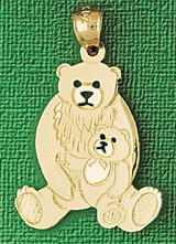 Bear Charm Bracelet or Pendant Necklace in Yellow, White or Rose Gold DZ-2538 by Dazzlers
