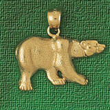 Wild Bear Charm Bracelet or Pendant Necklace in Yellow, White or Rose Gold DZ-2542 by Dazzlers