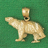 Wild Bear Charm Bracelet or Pendant Necklace in Yellow, White or Rose Gold DZ-2544 by Dazzlers