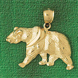 Wild Bear Charm Bracelet or Pendant Necklace in Yellow, White or Rose Gold DZ-2546 by Dazzlers
