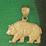 Wild Bear Charm Bracelet or Pendant Necklace in Yellow, White or Rose Gold DZ-2548 by Dazzlers