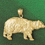 Wild Bear Charm Bracelet or Pendant Necklace in Yellow, White or Rose Gold DZ-2549 by Dazzlers
