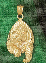 Wild Bear Charm Bracelet or Pendant Necklace in Yellow, White or Rose Gold DZ-2550 by Dazzlers