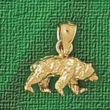 Wild Bear Charm Bracelet or Pendant Necklace in Yellow, White or Rose Gold DZ-2552 by Dazzlers
