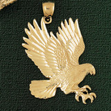 Flying Eagle Charm Bracelet or Pendant Necklace in Yellow, White or Rose Gold DZ-2770 by Dazzlers