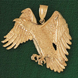 Flying Eagle Charm Bracelet or Pendant Necklace in Yellow, White or Rose Gold DZ-2771 by Dazzlers