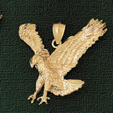 Flying Eagle Charm Bracelet or Pendant Necklace in Yellow, White or Rose Gold DZ-2773 by Dazzlers
